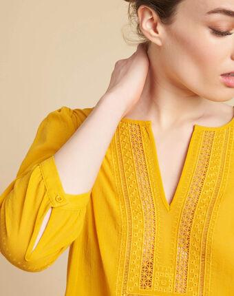 Blouse jaune encolure dentelle gabi zitronengelb.