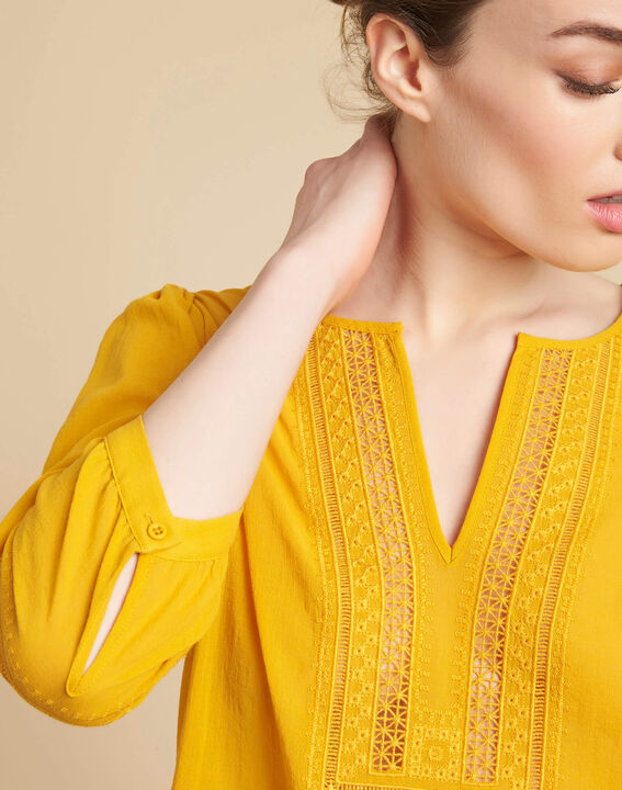 Gabi yellow blouse with lace at the neckline PhotoZ | 1-2-3