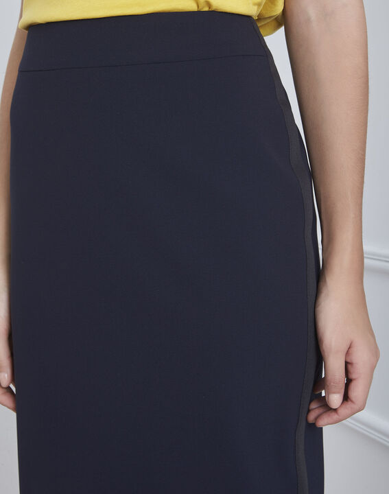 Fancy navy blue straight-cut skirt in microfibre (3) - 1-2-3