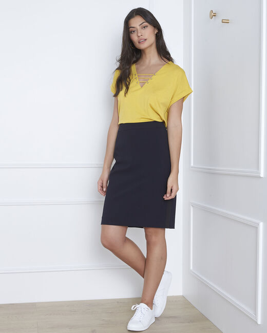 Fancy navy blue straight-cut skirt in microfibre (2) - 1-2-3