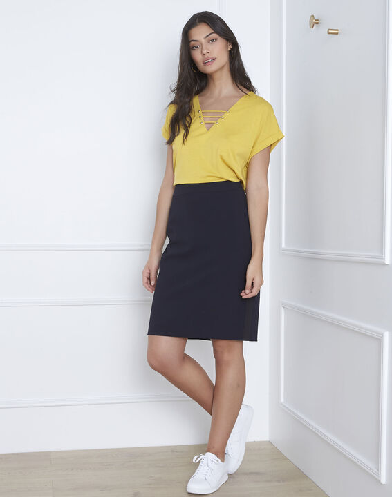Fancy navy blue straight-cut skirt in microfibre PhotoZ | 1-2-3