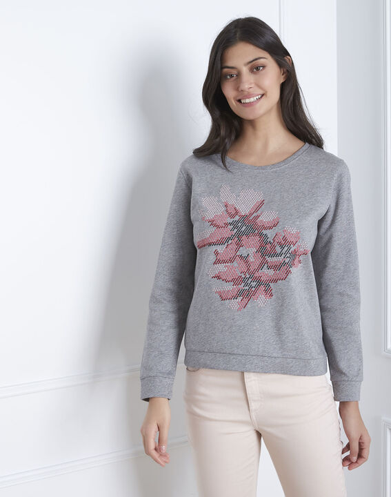 Graues besticktes Sweatshirt Pacco PhotoZ | 1-2-3