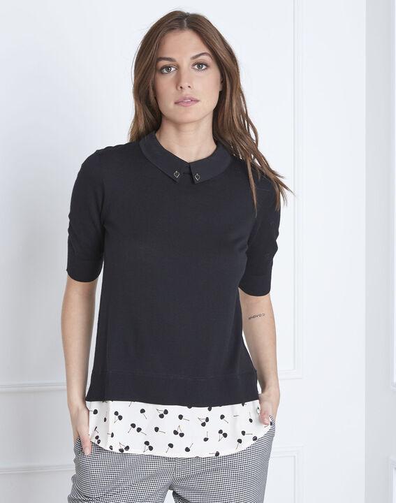 Schwarzer Pullover mit Hemdblusenkragen As (1) - Maison 123
