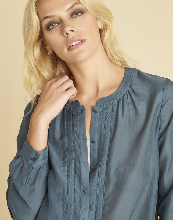 Camille grey cotton/silk blouse with buttons on the front (3) - 1-2-3