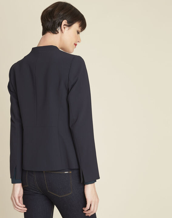 Majesté blue collarless jacket (4) - 1-2-3