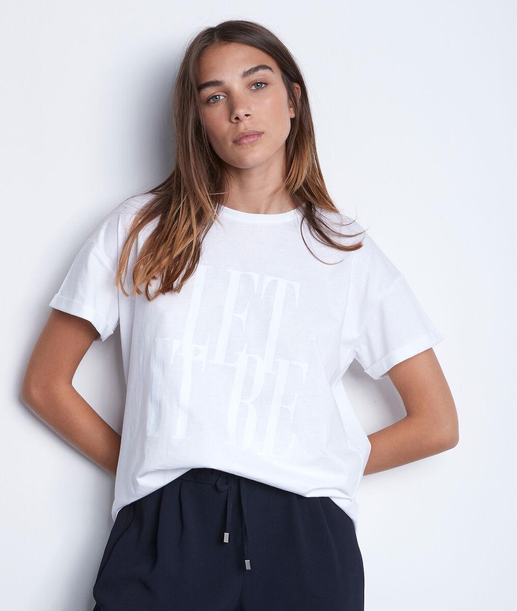 Wit katoenen T-shirt met opschrift Elda PhotoZ | 1-2-3