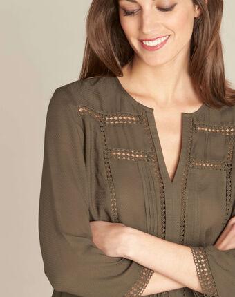 Khakifarbene bluse mit guipure-details graziella kaki.