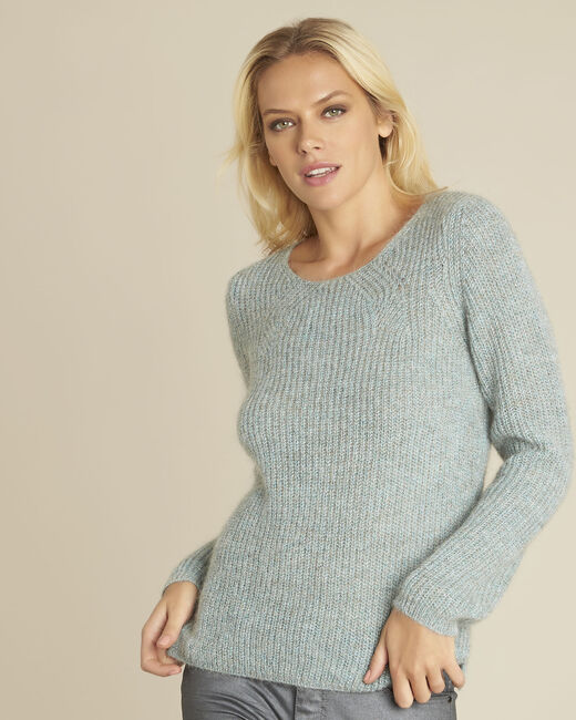 Bello blue mohair pullover with decorative stitching (2) - 1-2-3