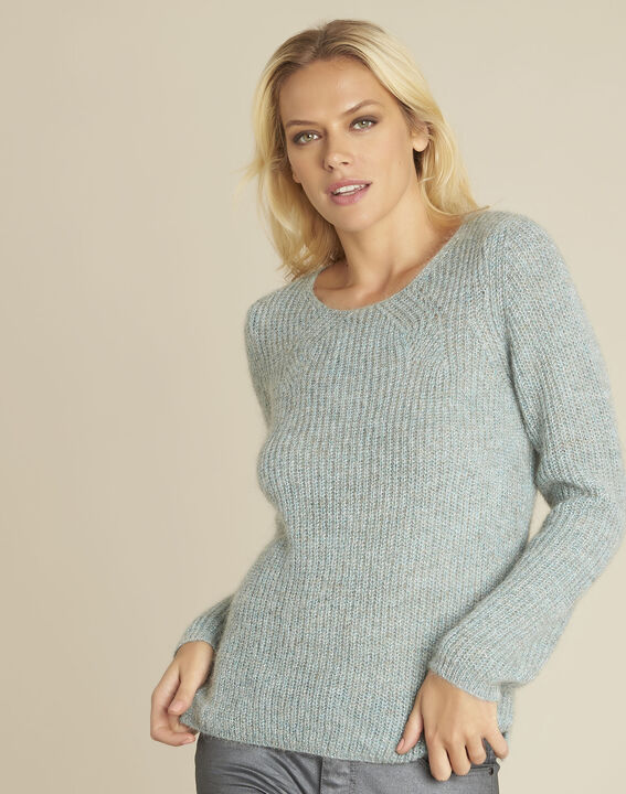 Pull bleu points fantaisie mohair Bello (1) - 37653