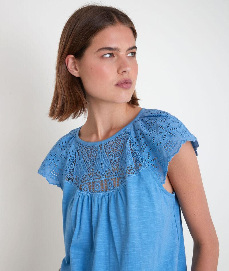 Tee-shirt en coton et dentelle bleu Ecume PhotoZ | 1-2-3