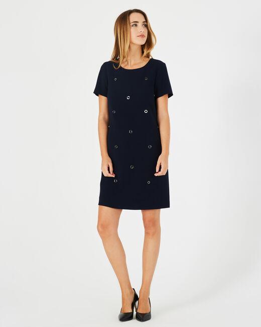 Adélie navy blue dress with eyelets (1) - 1-2-3