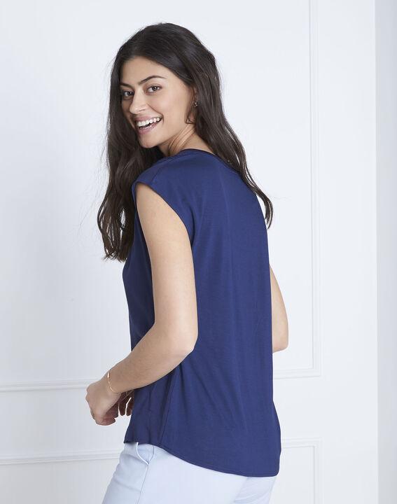 Marineblaue Bluse aus Bimaterial Vanissa (4) - Maison 123