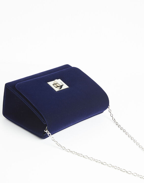 Ismael navy blue clutch bag with silver tone clasp (3) - 1-2-3