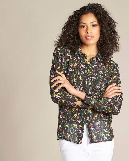 Zwart overhemd met bloemenprint Davis (2) - 37653