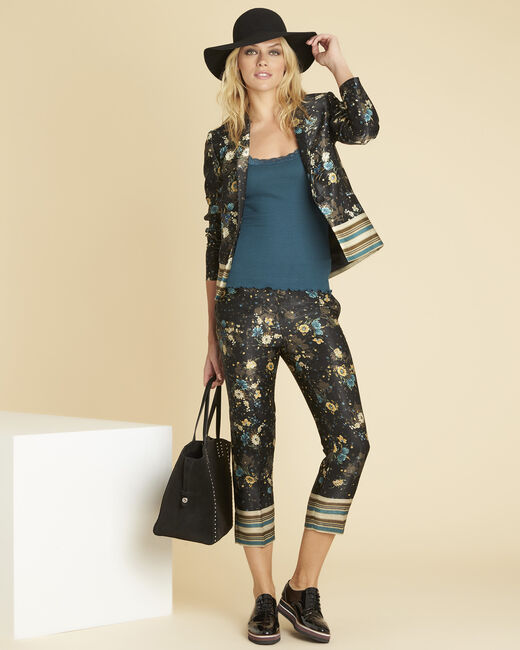 Harmonie navy blue straight-cut trousers with floral print (1) - 1-2-3