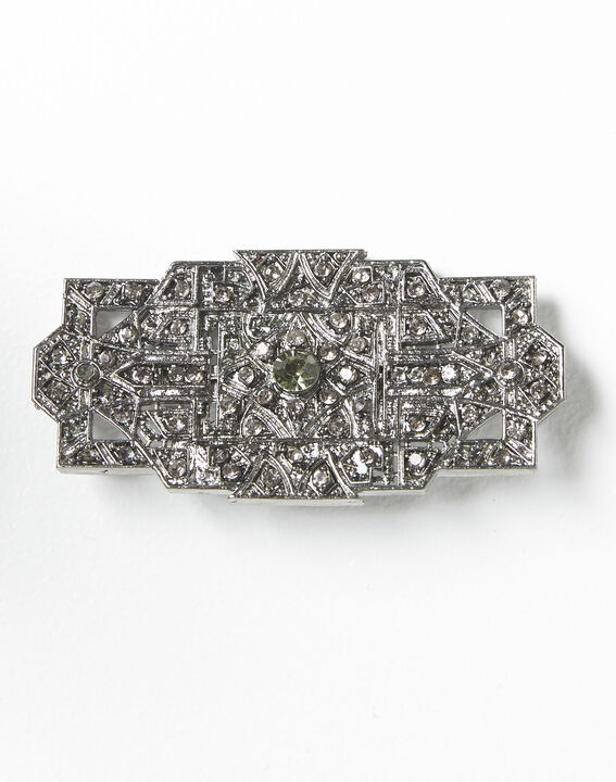 Xian silver plated brooch with black stones (2) - 1-2-3