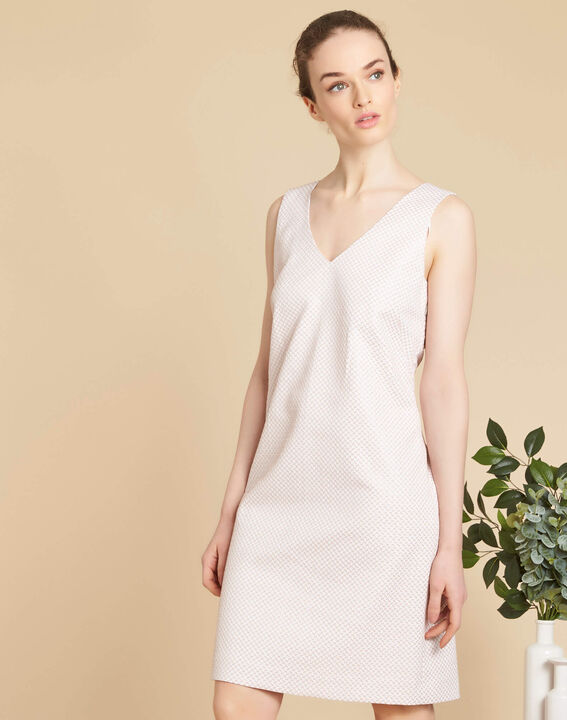 Idalie pale pink Jacquard dress with decorative back (3) - 1-2-3