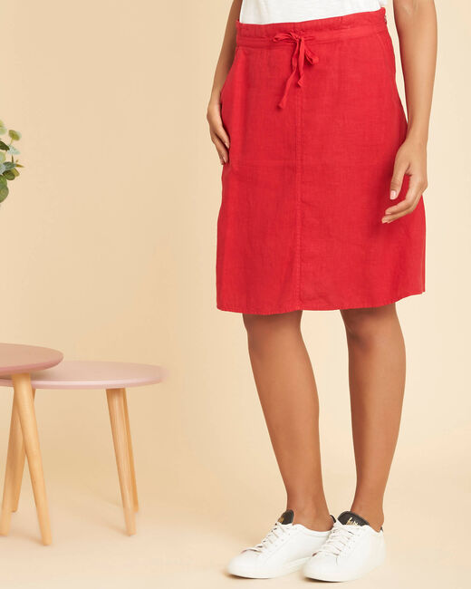 Lumio red linen skirt with tie (2) - 1-2-3