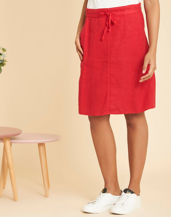 Lumio red linen skirt with tie (3) - 1-2-3
