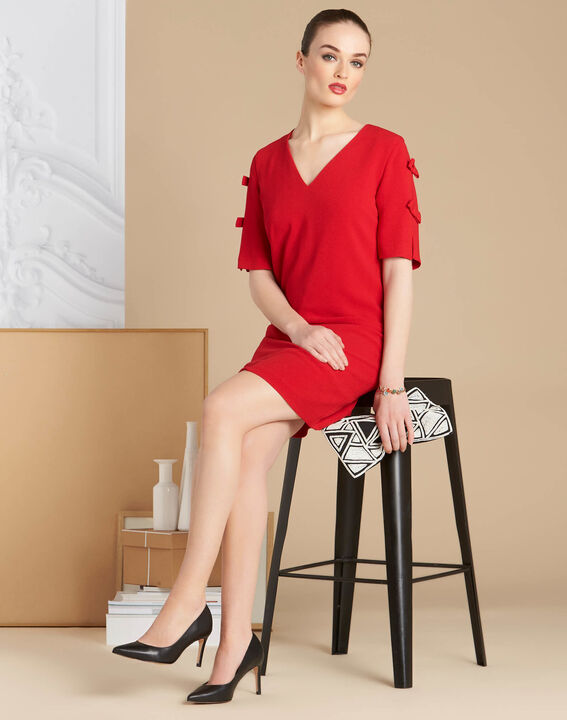 Ivoire red crepe dress with bows (3) - 1-2-3