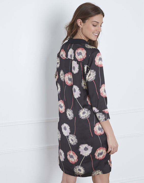 Schwarzes Kleid mit Blumen-Print Léontine (4) - Maison 123
