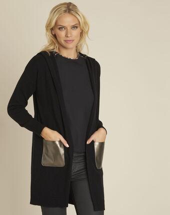Gilet noir capuche en laine cachemire banquise noir.