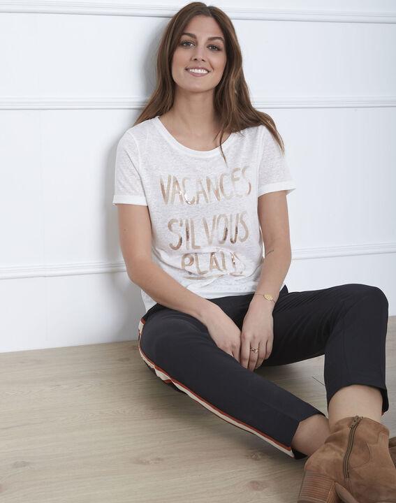 Ecrufarbenes Message-T-Shirt aus Leinen-Mix Patagonia (1) - Maison 123