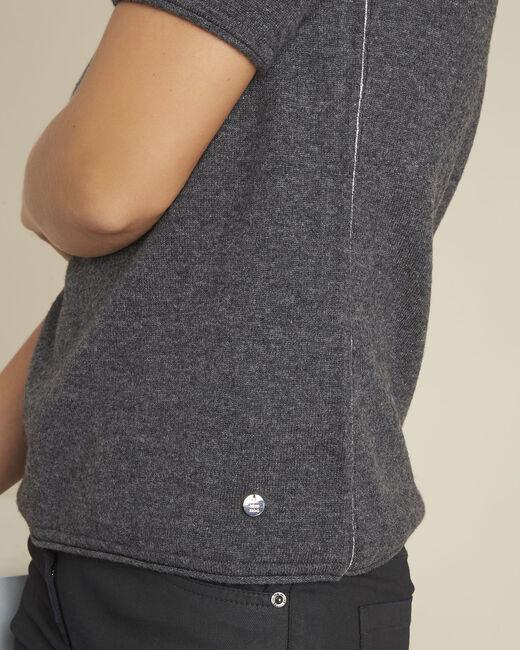 Pull gris manches courtes laine cachemire Ballet (2) - 1-2-3