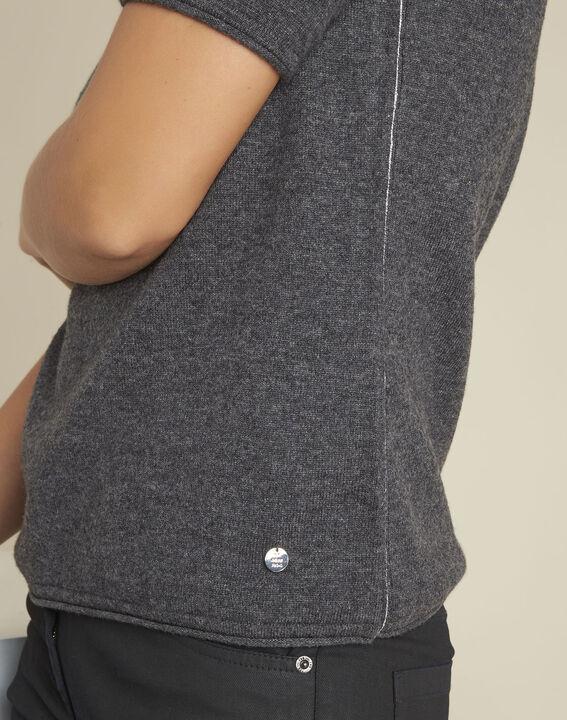 Pull gris manches courtes laine cachemire Ballet (3) - 1-2-3
