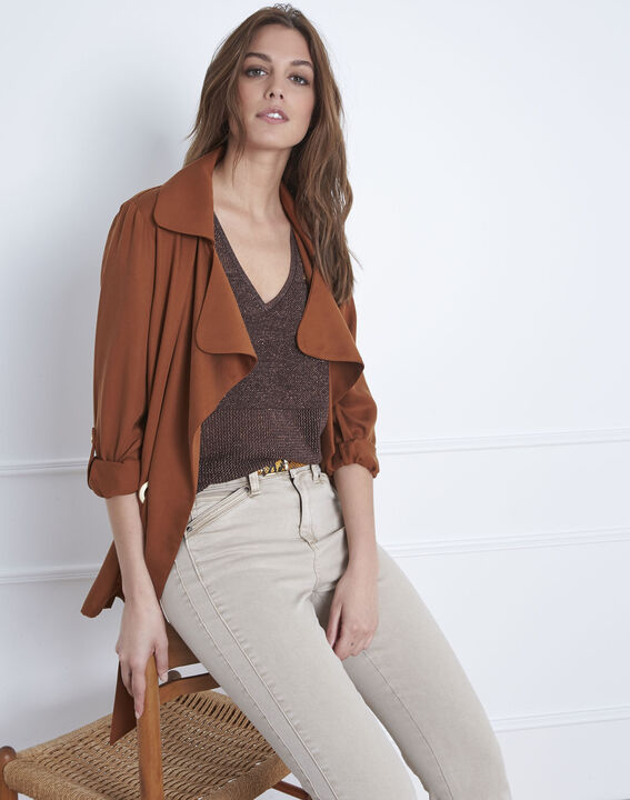 Pull marron encolure V en lurex Amande PhotoZ | 1-2-3