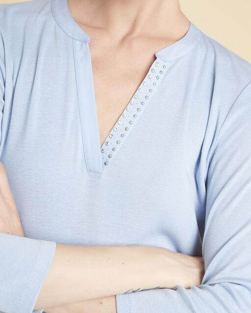 Tee-shirt azur encolure V fantaisie Episod (2) - 1-2-3