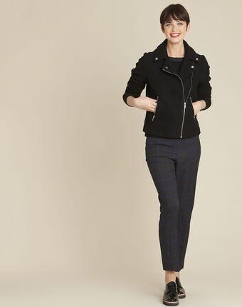 Zwarte mantel van wol in de stijl van een perfecto edmee noir.