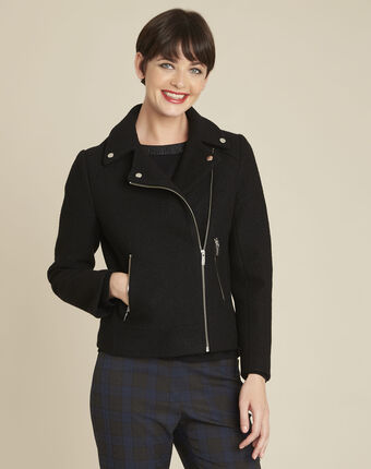 Edmee black wool coat in perfecto style black.