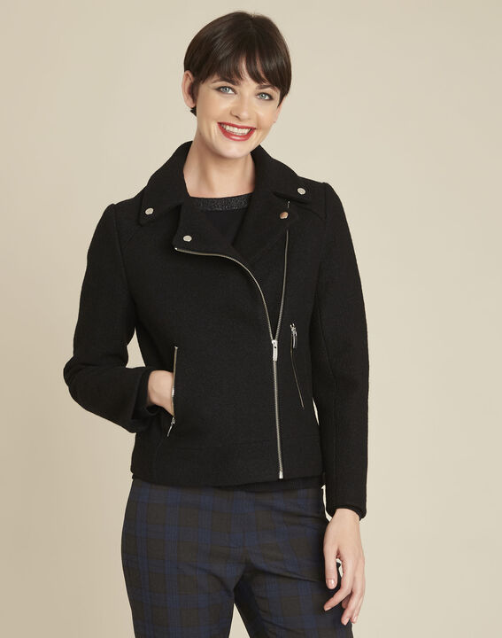 Edmee black wool coat in perfecto style PhotoZ | 1-2-3