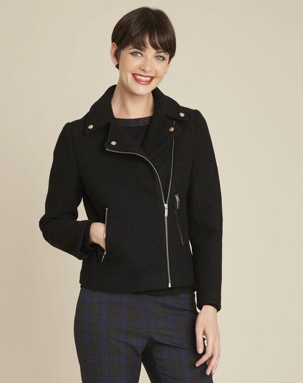 Manteau noir en laine esprit perfecto Edmee (1) - 1-2-3
