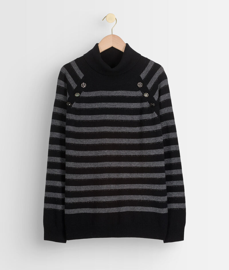 Zwarte en grijze trui van gerecyclede wol en kasjmier Thales  PhotoZ | 1-2-3