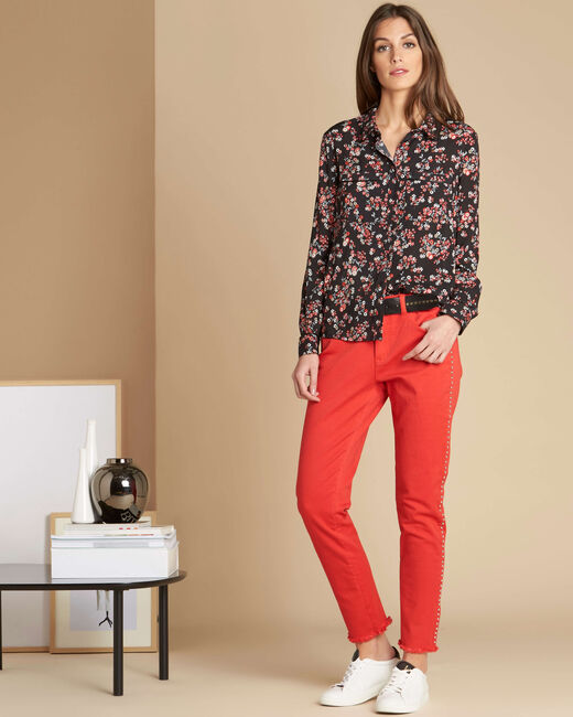 Vendôme red jeans with studded detailing (2) - 1-2-3