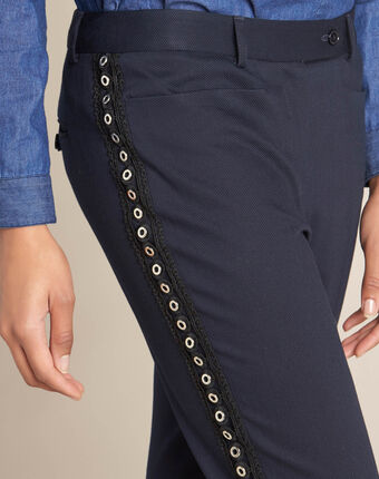 Valero tailored navy trousers with lateral band and eyelets navy.