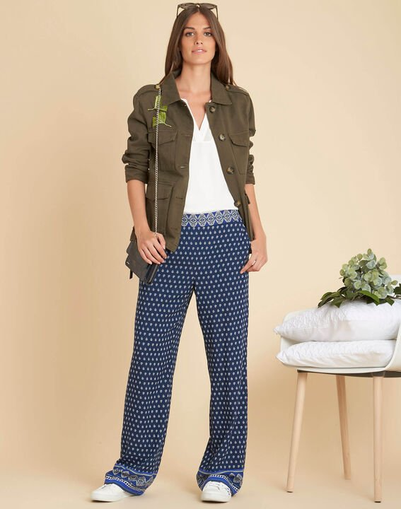 Siroma blue wide-cut printed trousers (2) - 1-2-3