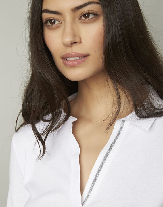 Tee-shirt blanc encolure V en lurex Primerose (4) - Maison 123
