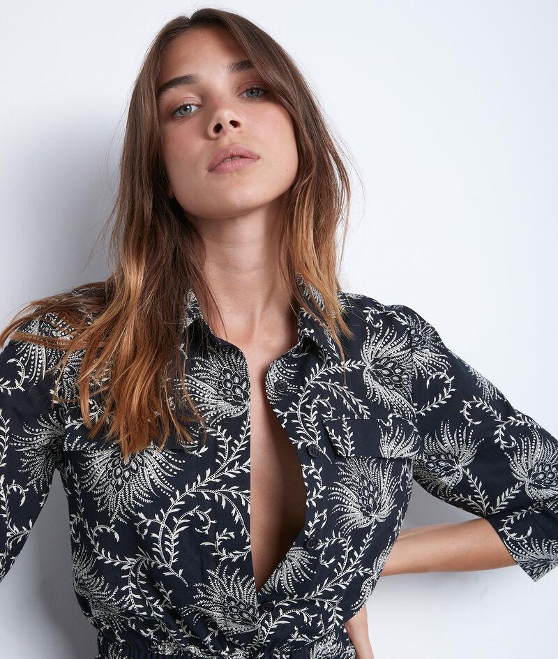 Robe en coton imprimé noir et blanc Suzie PhotoZ | 1-2-3