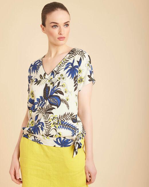 Beige blouse met print en strik aan de taille Edgee (2) - 37653