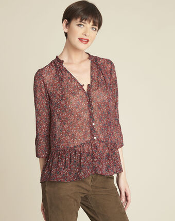 Cristal red floral print blouse red.