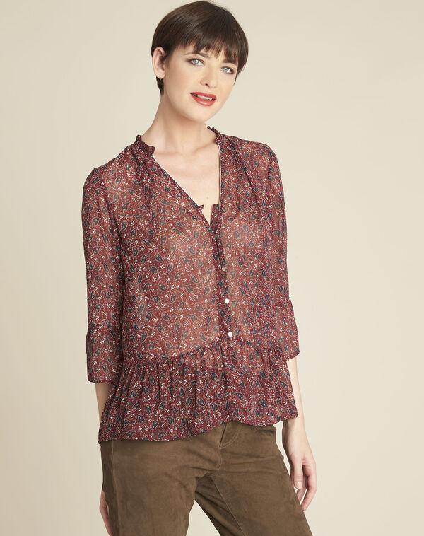 Rode blouse met bloemenprint Cristal (2) - 37653