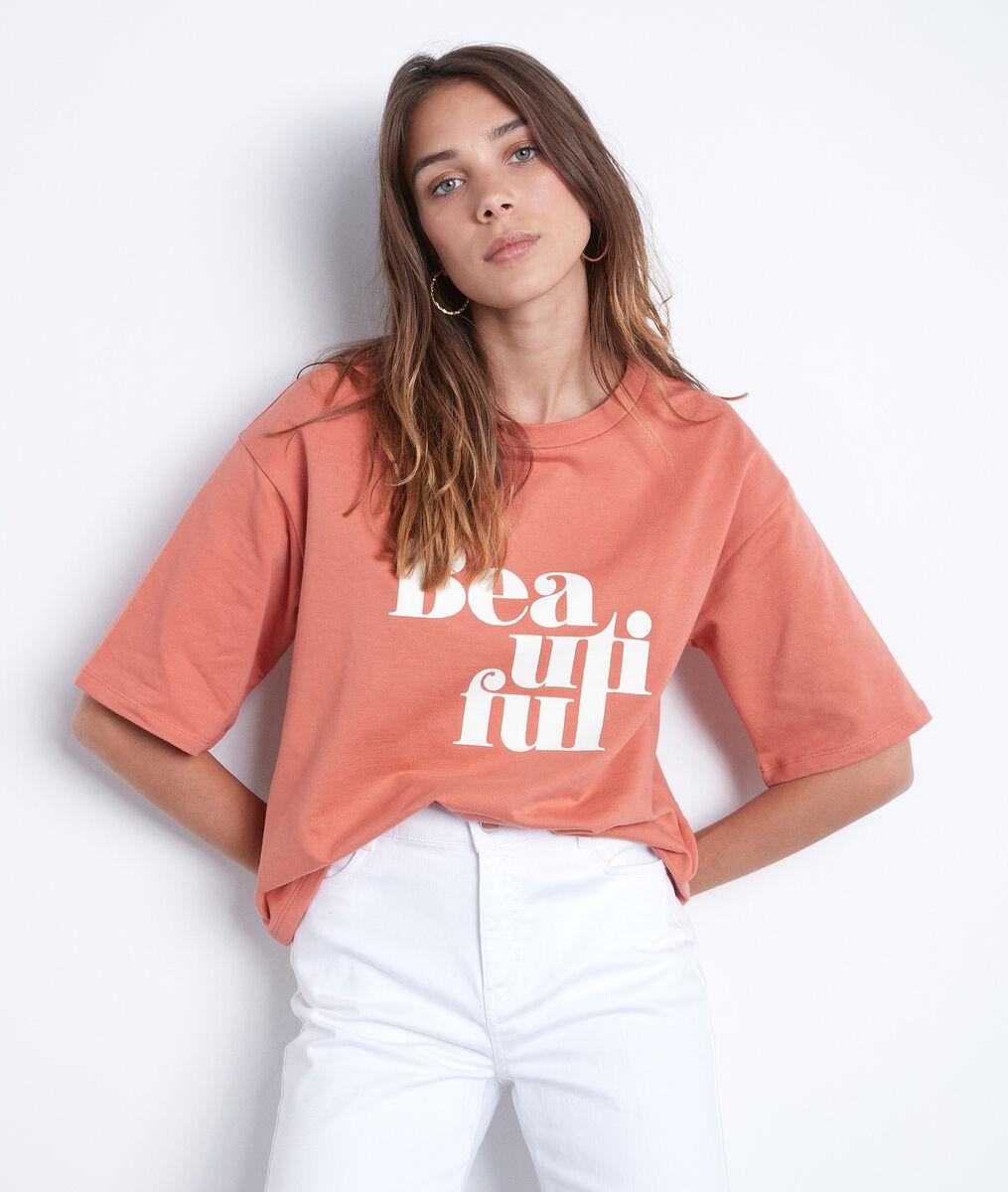 Tee-shirt sérigraphié en coton pêche Equateur PhotoZ | 1-2-3