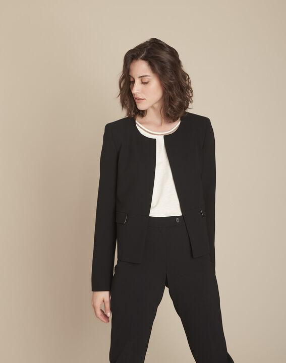 Schwarze Jacke mit Pattentaschen aus Mikrofaser Charme (1) - Maison 123