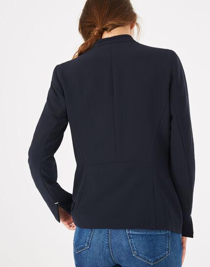 Veste de tailleur bleu marine mi-longue Majeste (5) - 1-2-3