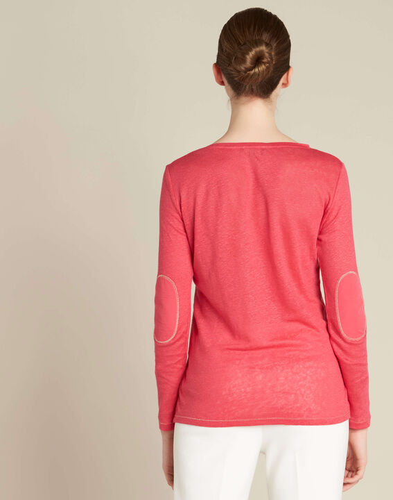 Elin fine gooseberry T-shirt in linen with golden topstitching (4) - 1-2-3