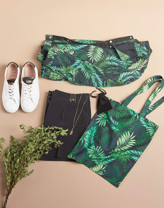 Palm-printed khaki tote bag PhotoZ | 1-2-3
