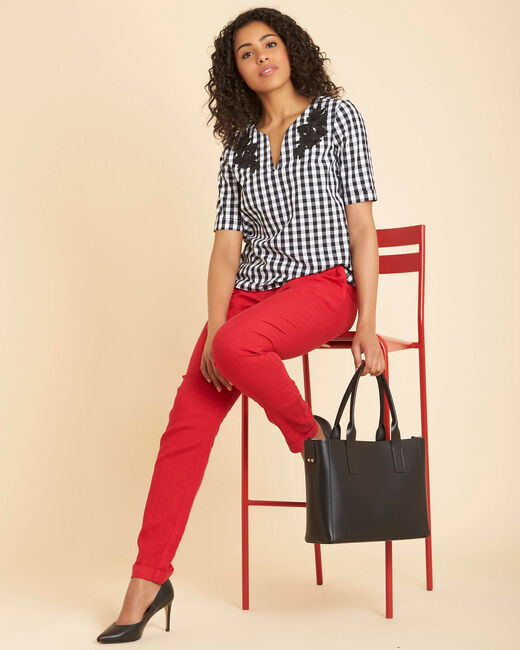 Pantalon rouge en lin Joris (1) - 1-2-3